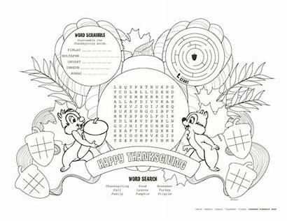 Thanksgiving Placemats Disney Coloring Parks Printables Pages