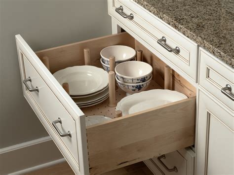 drawer plate storage traditional kitchen minneapolis  mid continent cabinetry