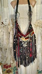 Purse Designs Handmade Gray Leather Cross Body Bag Beads Fringe Boho