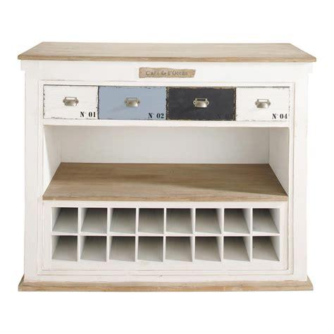 meuble de bar avec tiroirs en bois blanc effet vieilli l