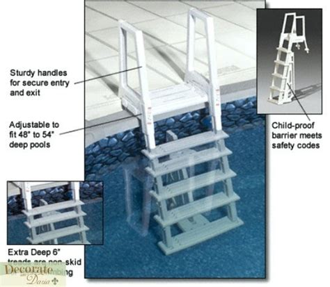 above ground pool ladder deck mount 5 treads resin liner protect pad 48 quot 54 new decorate with