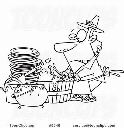Dishes Washing Cartoon Drawing Line Guy Barrel