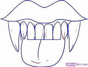 Step 5. How to Draw Vampire Fangs and Teeth