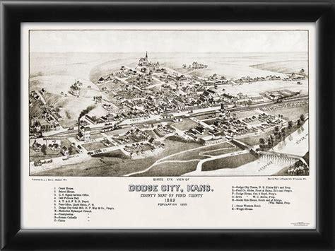 C Dodge Map by Dodge City Ks 1882 Vintage City Maps Restored City Maps