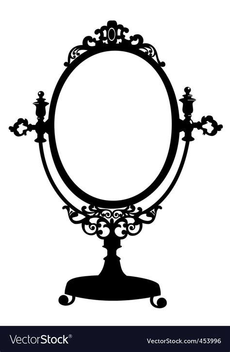 silhouette  antique mirror royalty  vector image