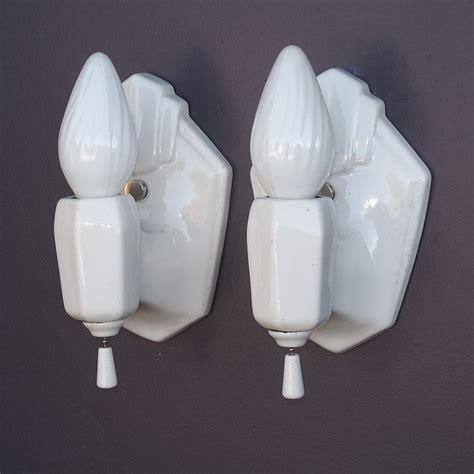 white porcelain vintage bathroom sconces from