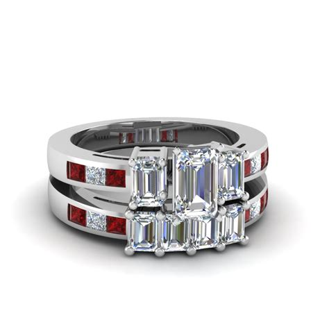 emerald 3 set channel set 3 emerald cut wedding ring sets