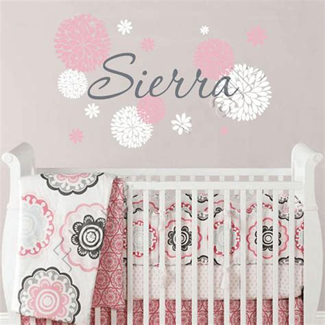 stickers muraux chambre ado gar n baby name wall decal with dahlia flowers baby