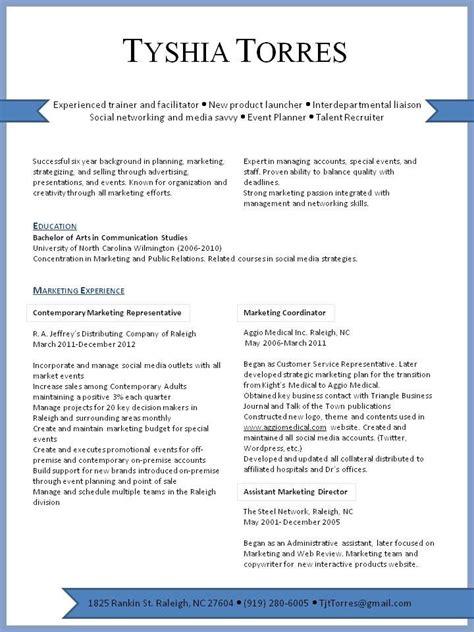 marketing resume visual presentation of marketing