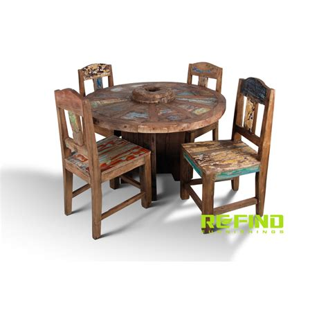 Round Wood Boat by Recycled Boat Wood Round Dining Table With 4 Chairs