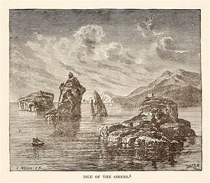 1890 Wood Engraving Sirens Island Isle Greek Mythology ...