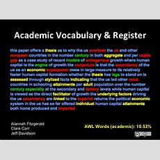 Academic Vocabulary & Register