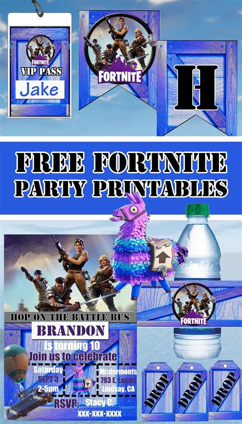 fortnite birthday party printable files banner