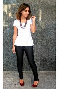 White Ts Shirts Dark Gray Jeans Brick Red Heels Brick Red Necklaces | u0026quot;Burgundyu0026quot; by DMW5 ...