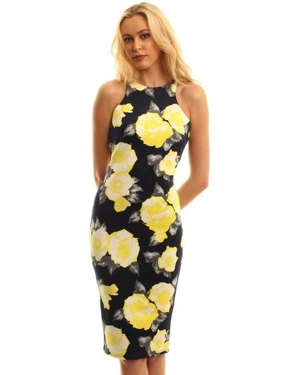 Yellow and navy dress
