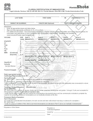 florida certification immunization form florida certification of immunization fill online