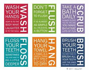 Full set of 6 bathroom art prints bathroom rules kids for Cute sayings for bathroom walls