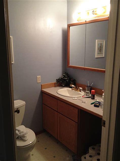 diy bathroom staining  bathroom vanity  gel stain