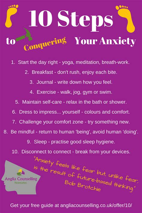 10 Steps To Conquering Your Anxiety  Infographic  Anglia Counselling, Newmarket