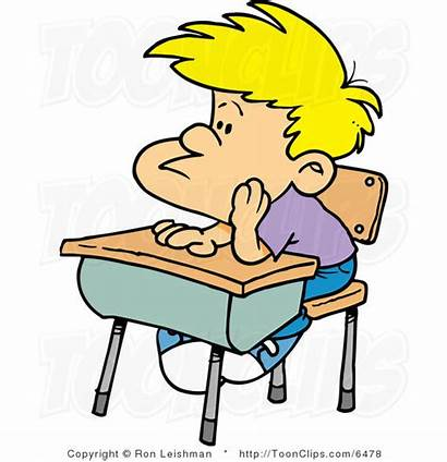 Boy Cartoon Bored Detention Desk Clipart Library
