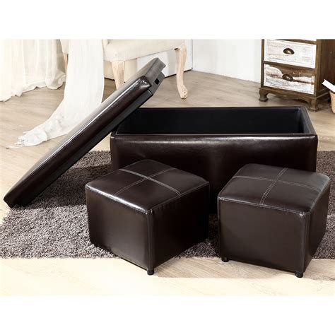 Leather Top Ottoman by 3pc Contemporary Brown Black Leather Tray Top Nested