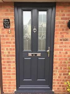 4, Square, Glazed, Composite, Front, Door, In, Grey