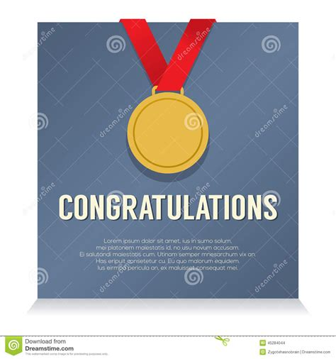 golden medal  congratulations card stock vector