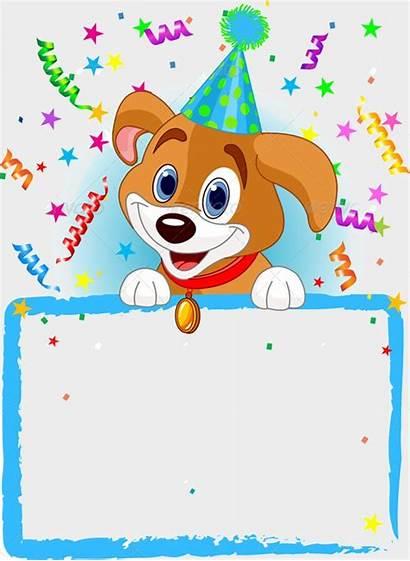 Birthday Dog Template Animal Clipart Invitation Cartoon