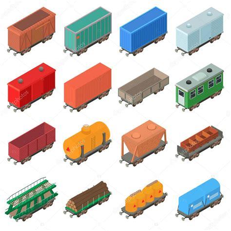 carrozza ferroviaria icone di carrozza ferroviaria isometrica stile