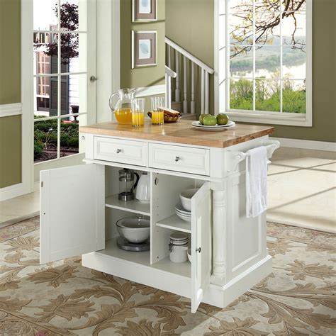 white kitchen island butcher block top kitchen island in white finish crosley 1366