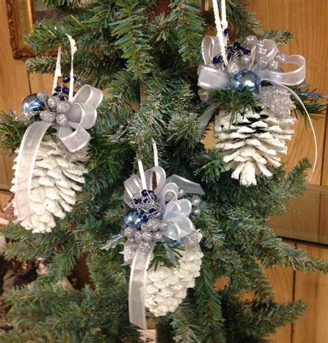 christmas ornament pinecone white blue pinecone