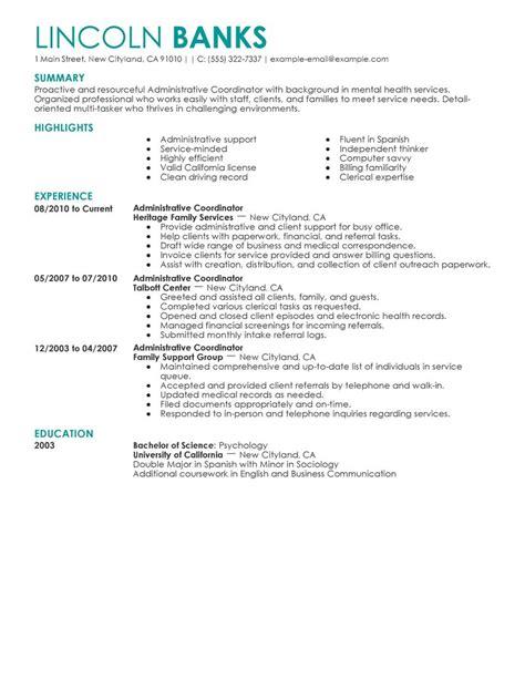 social services administrative coordinator resume