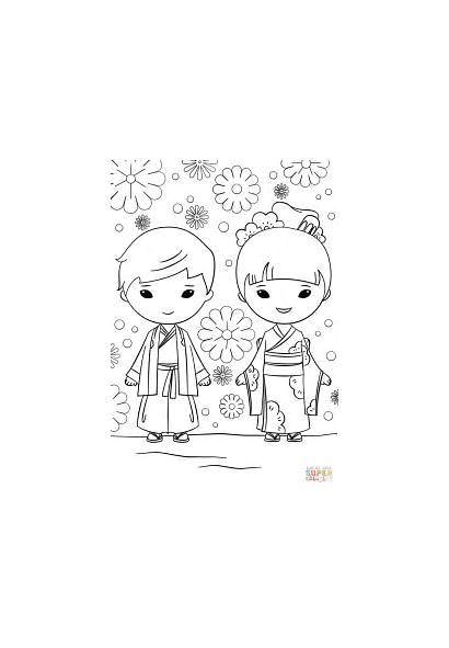 Coloring Japanese Pages Boy Sushi Printable Kokeshi