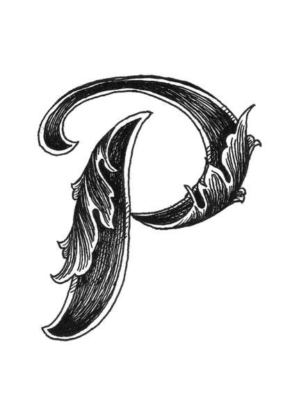 leaf script p art print  hannah scully lettering alphabet fonts tattoo lettering letter p