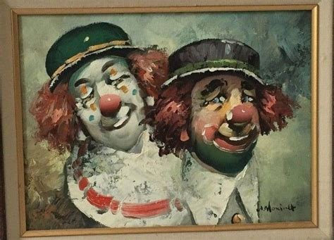 Rare Original Clown Oil Canvas Painting By Listed W
