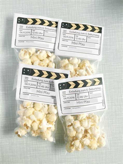 diy einladung kindergeburtstag kino popcorn