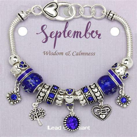sapphire september birthstone charm bracelet murano beads