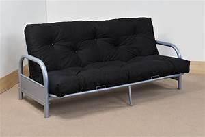 Modern three seater silver metal futon sofa bed for Metal frame futon sofa bed