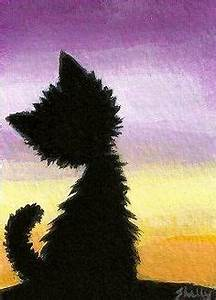 Original Art ACEO, Black Cat Sunset, Acrylic Painting by ...