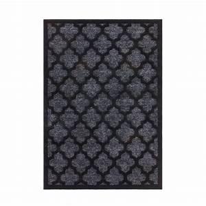 Tapis En Polypropylène : tapis en polypropyl ne brillant noir baroque melyna ~ Teatrodelosmanantiales.com Idées de Décoration