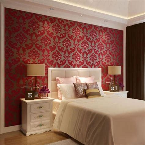 Romantic Bedroom With Damask Decorating Idea Using Red