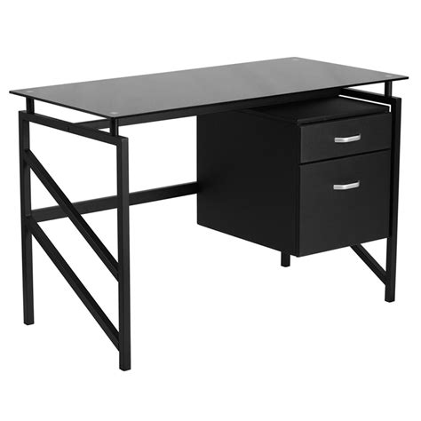 small glass top computer desk flynn black glass top office desk