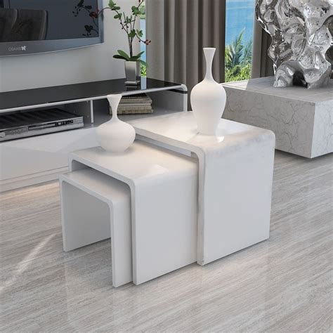 Coffee Side Tables Living Room Furniture by Details About Modern Design White High Gloss Nest Of 3