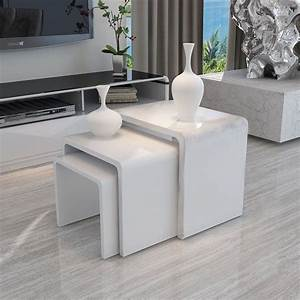 Details about modern design white high gloss nest of 3 for White nesting coffee table