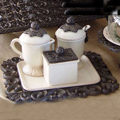 Creamer and sugar products directory and creamer and sugar products catalog. The GG Collection Creamer/Sugar Set (3-piece) - Iron Accents