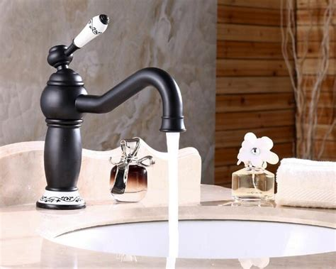 Black Antique Brass Faucet Hot And Cold Basin Mixer Oil Rubbed Bronze Finish Bathroom Sink Mixer