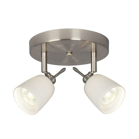 brushed nickel track lighting kits shop galaxy 2 light 7 in brushed nickel flush mount fixed