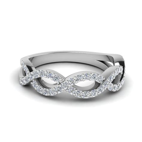 Twisted Infinity Diamond Wedding Band In 14k White Gold