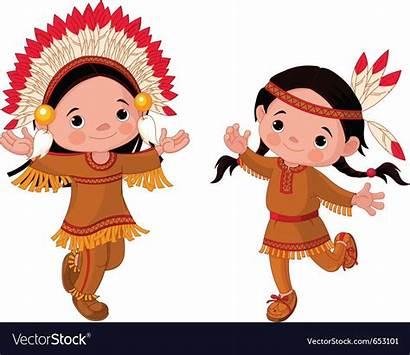 American Indians Couple Children Dancing Vector Indian