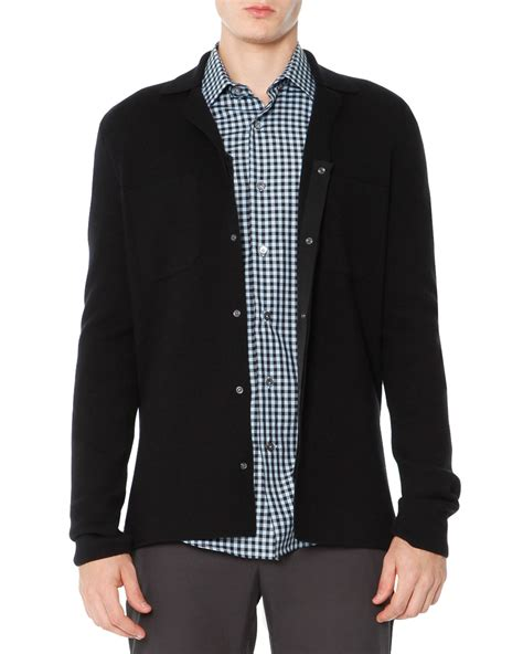 black sweater lyst lanvin snap front cardigan sweater in black for